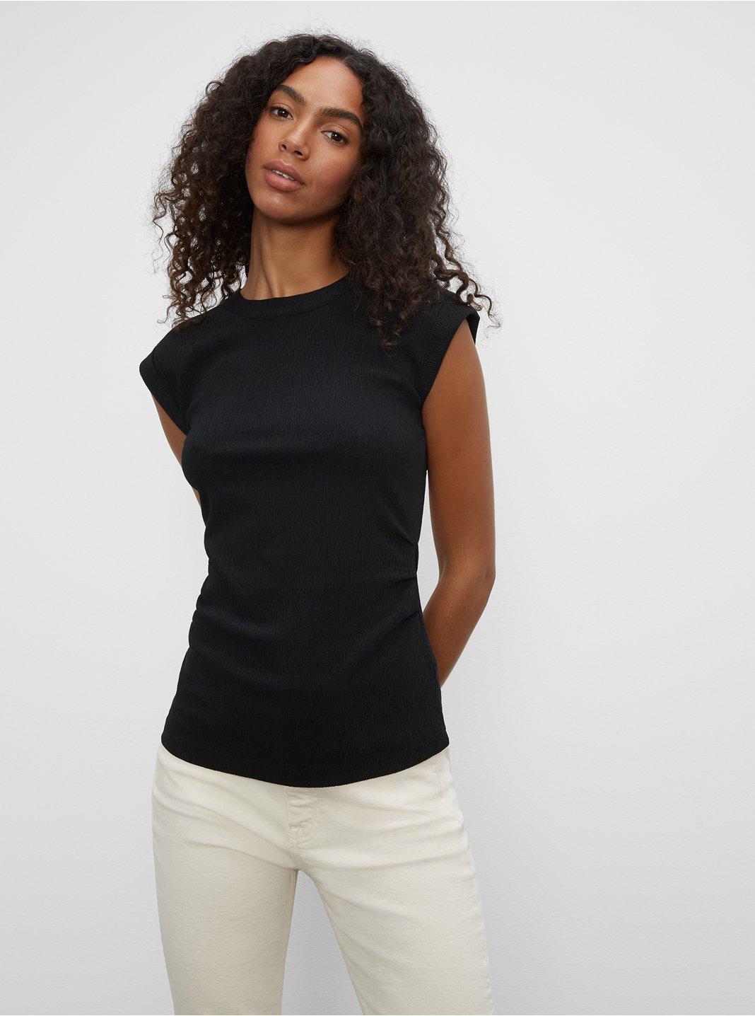 클럽 모나코 텍스쳐드 주름 장식 탑 Club Monaco Textured Ruched Top,Black