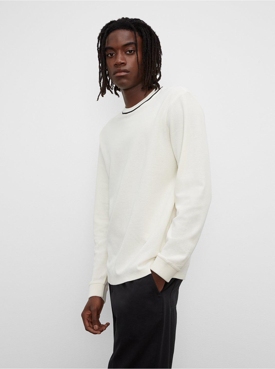 클럽 모나코 티셔츠 Club Monaco Pique Crewneck Sweatshirt,Blanc De Blanc