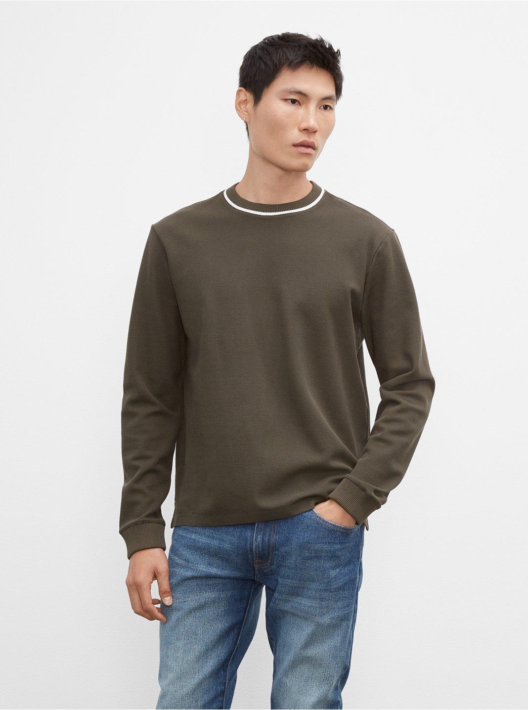 클럽 모나코 티셔츠 Club Monaco Pique Crewneck Sweatshirt,Black Olive