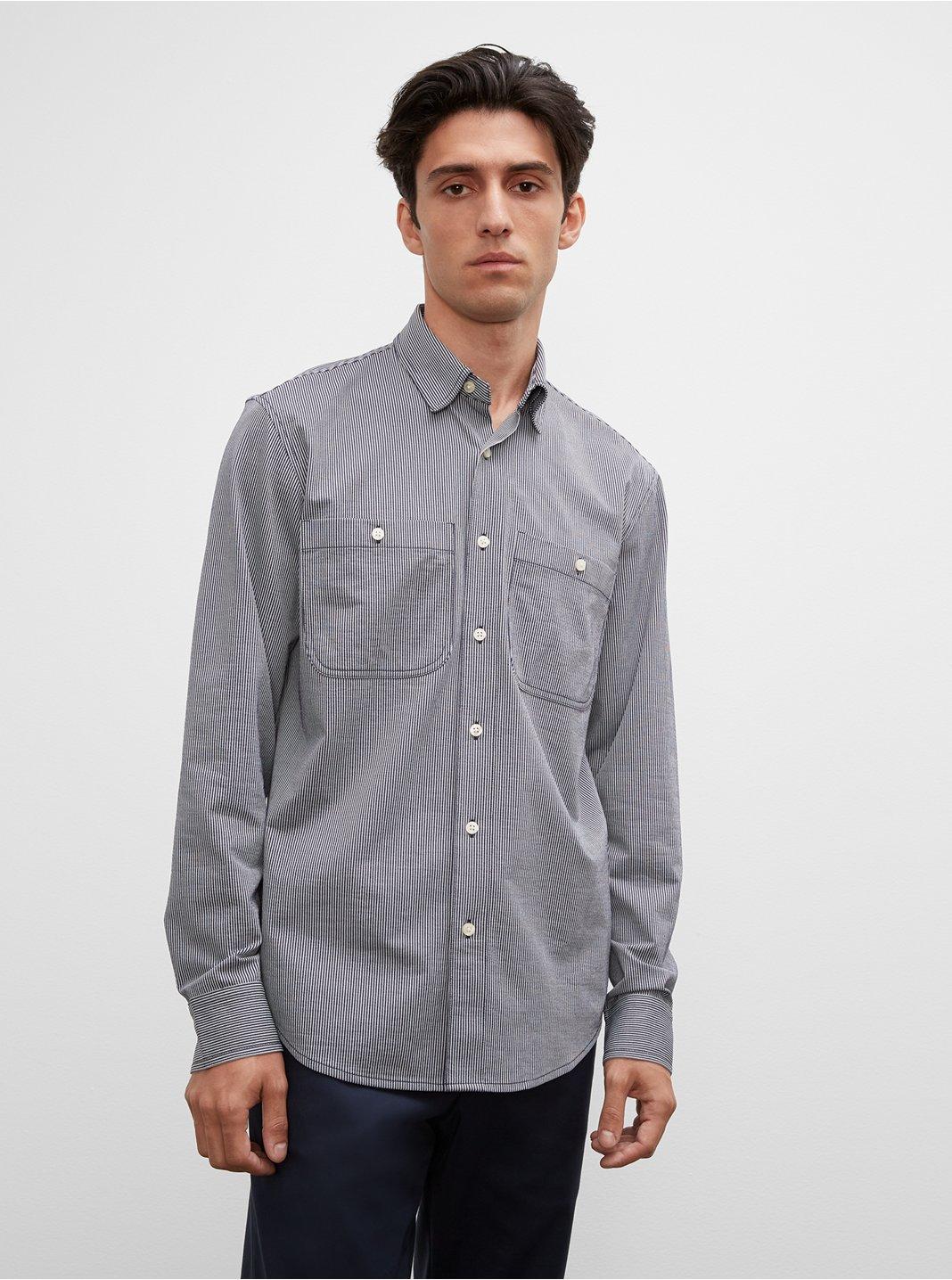 클럽 모나코 맨 스트라이프 유틸리티 셔츠 Club Monaco Striped Knit Utility Shirt,Blue Multi