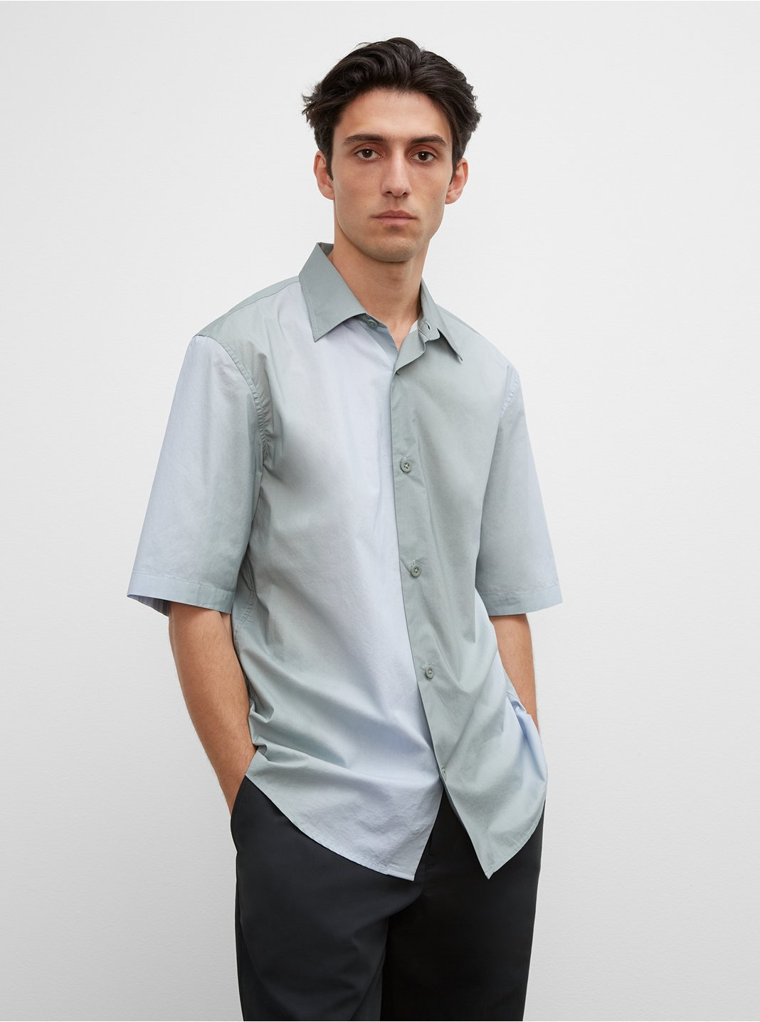 클럽 모나코 셔츠 Club Monaco Short Sleeve Ombre Boxy Shirt,Blue Multi