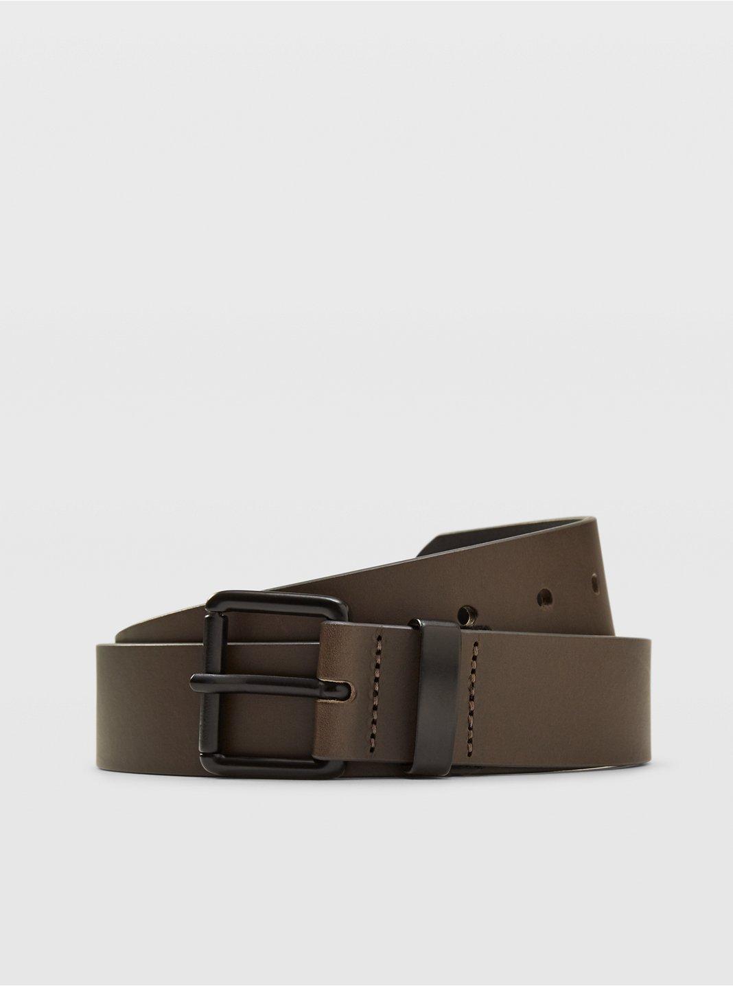 클럽 모나코 벨트 Club Monaco Double Face Leather Belt,Black Olive