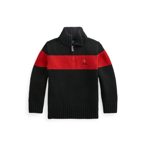 폴로 랄프로렌 Polo Ralph Lauren Cotton Quarter Zip Sweater,Polo Black Multi