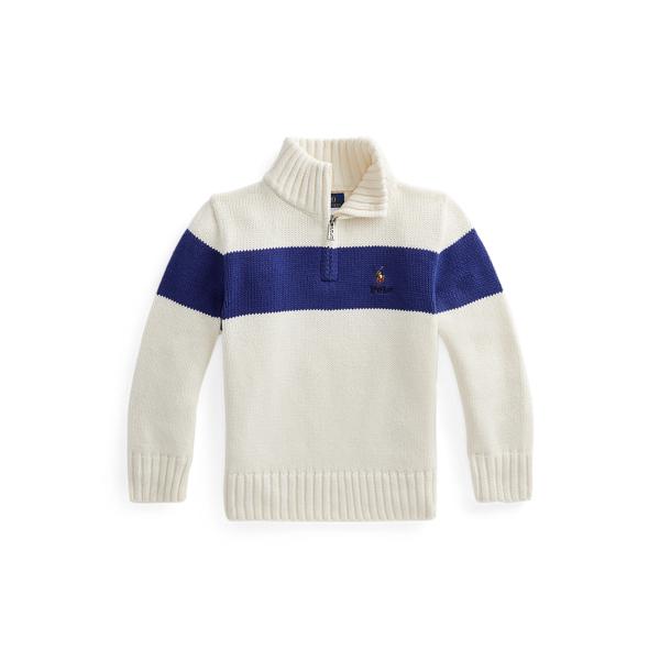 폴로 랄프로렌 Polo Ralph Lauren Cotton Quarter Zip Sweater,Clubhouse Cream Multi