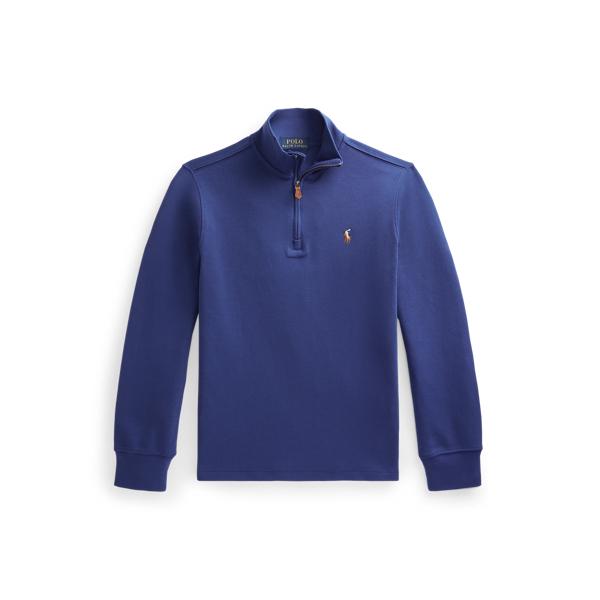 폴로 랄프로렌 Polo Ralph Lauren Cotton Interlock Quarter Zip Pullover,Chalet Blue