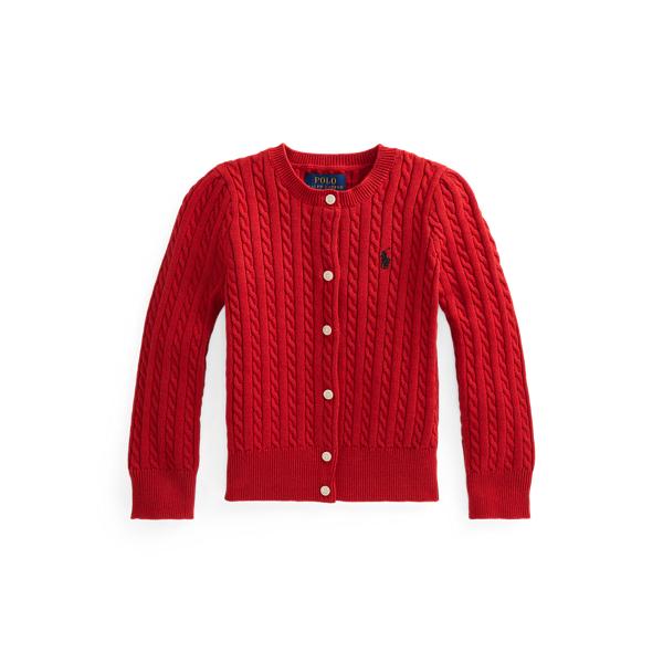 폴로 랄프로렌 Polo Ralph Lauren Mini Cable Cotton Cardigan,Madison Red