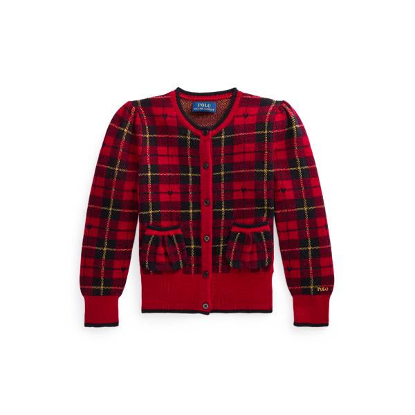 폴로 랄프로렌 Polo Ralph Lauren Plaid Wool Cardigan,Red Plaid