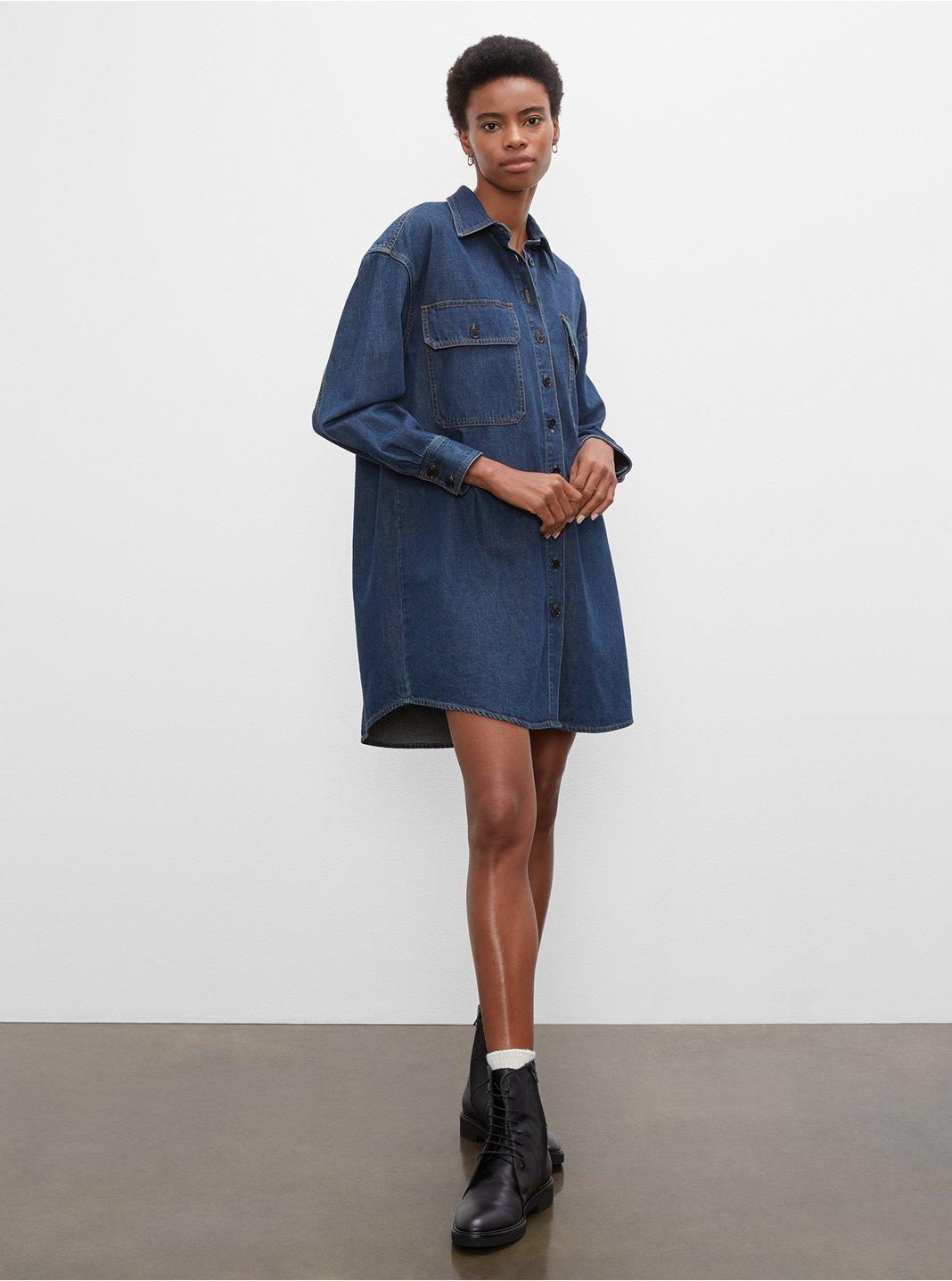 클럽 모나코 데님 셔츠 원피스 Club Monaco Denim Shirt Dress,Indigo