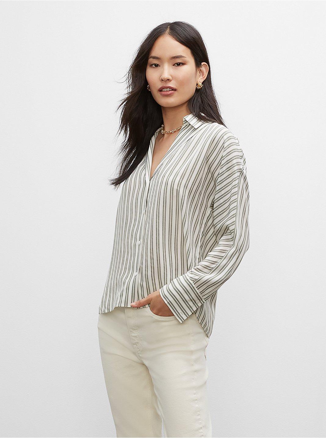 클럽 모나코 셔츠 Club Monaco Signature Striped Silk Shirt,White Printed Multi