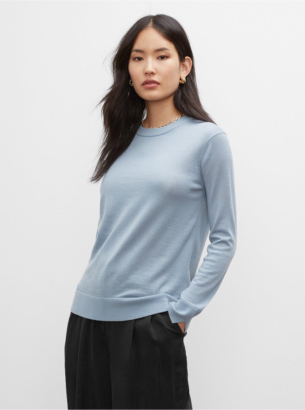 클럽 모나코 스웨터 Club Monaco Essential Crewneck Sweater,Grey Blue