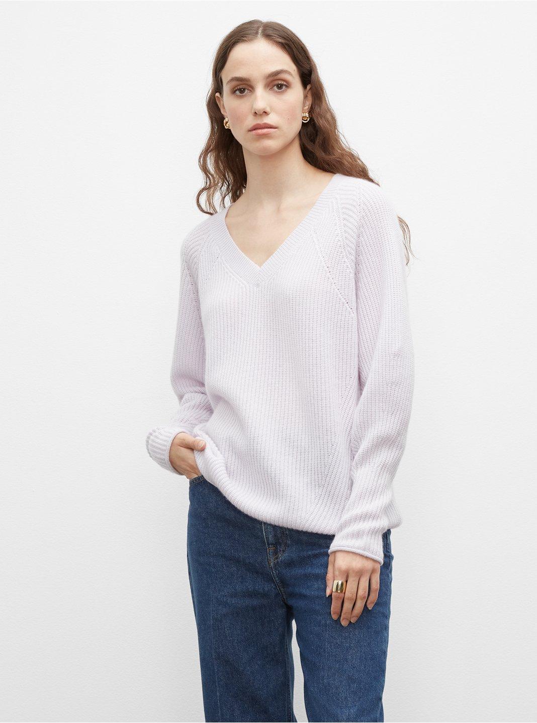 클럽 모나코 우먼 스웨터 Club Monaco Cashmere V-Neck Sweater,Chic Cream