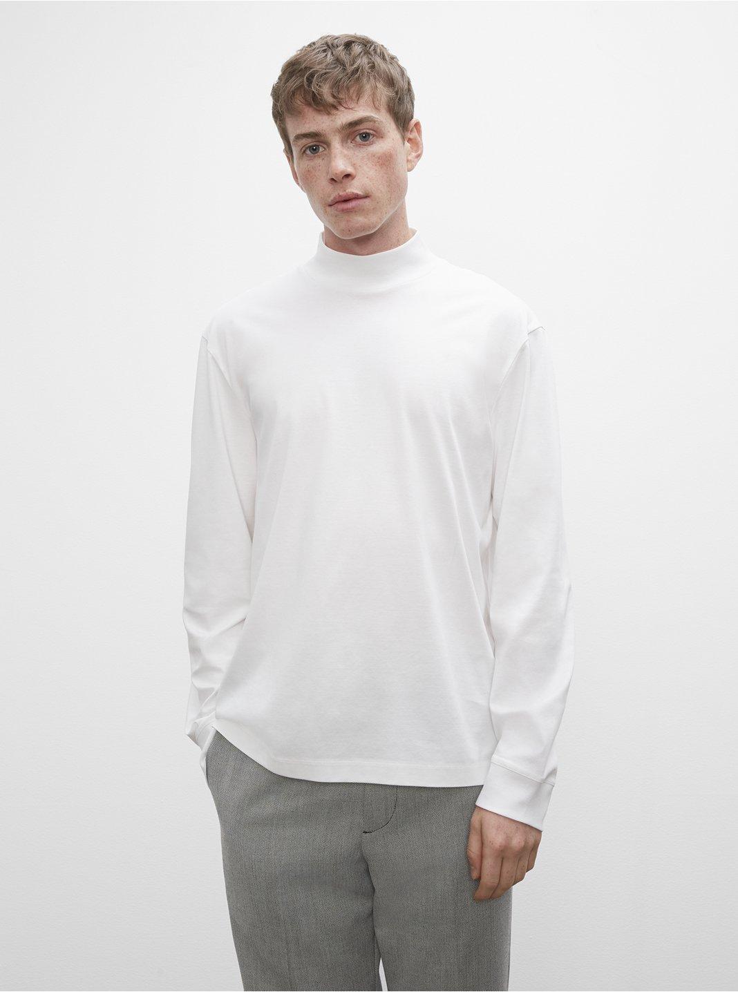 클럽 모나코 티셔츠 Club Monaco Refined Mockneck Long Sleeve Tee,Blanc De Blanc