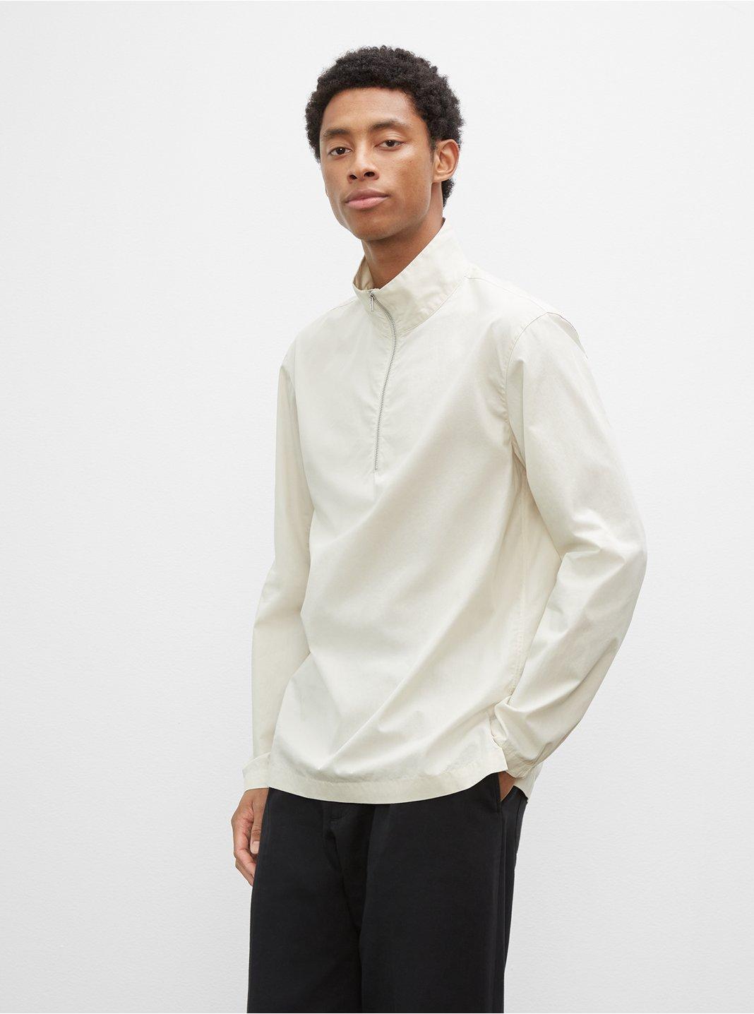 클럽 모나코 풀오버 Club Monaco Long Sleeve Zip Mockneck Pullover,Silver Birch