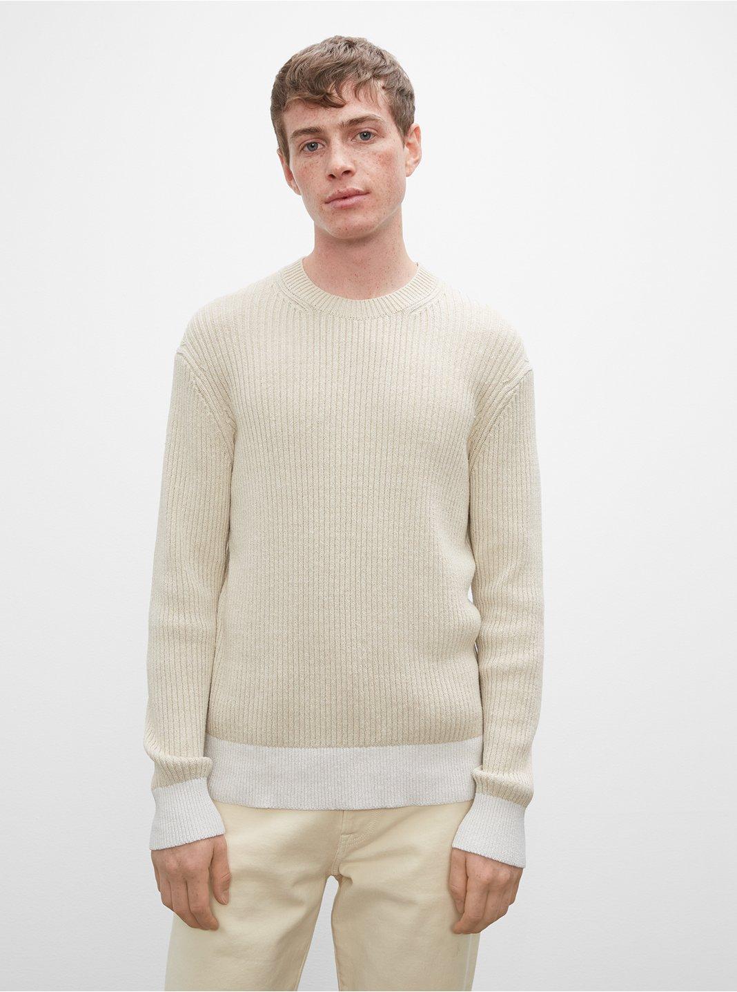 클럽 모나코 스웨터 Club Monaco Long Sleeve Feel Good Crewneck Sweater,Cream