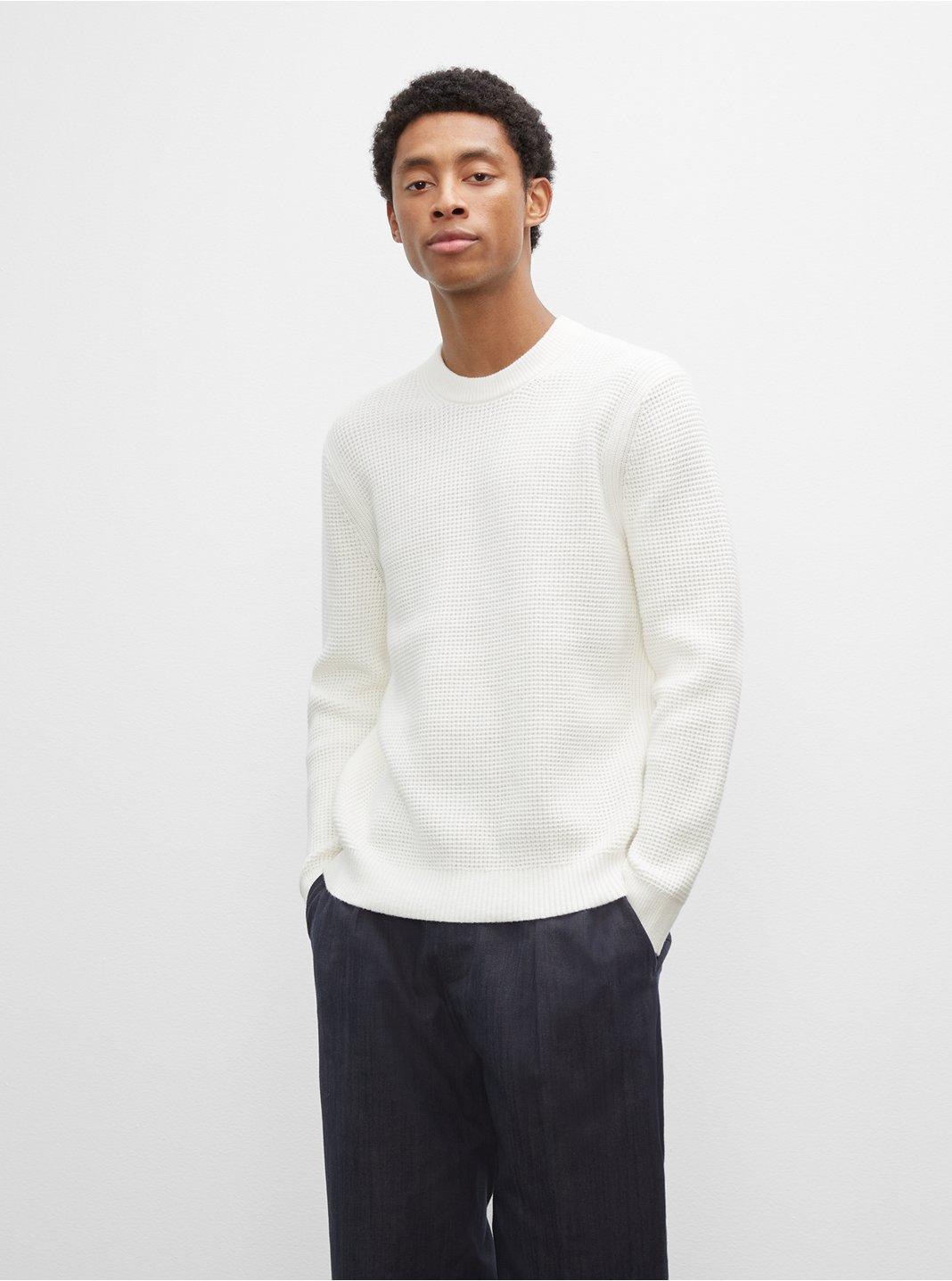 클럽 모나코 맨 와플 스웨터 Club Monaco Long Sleeve Waffle Crewneck Sweater,Egret