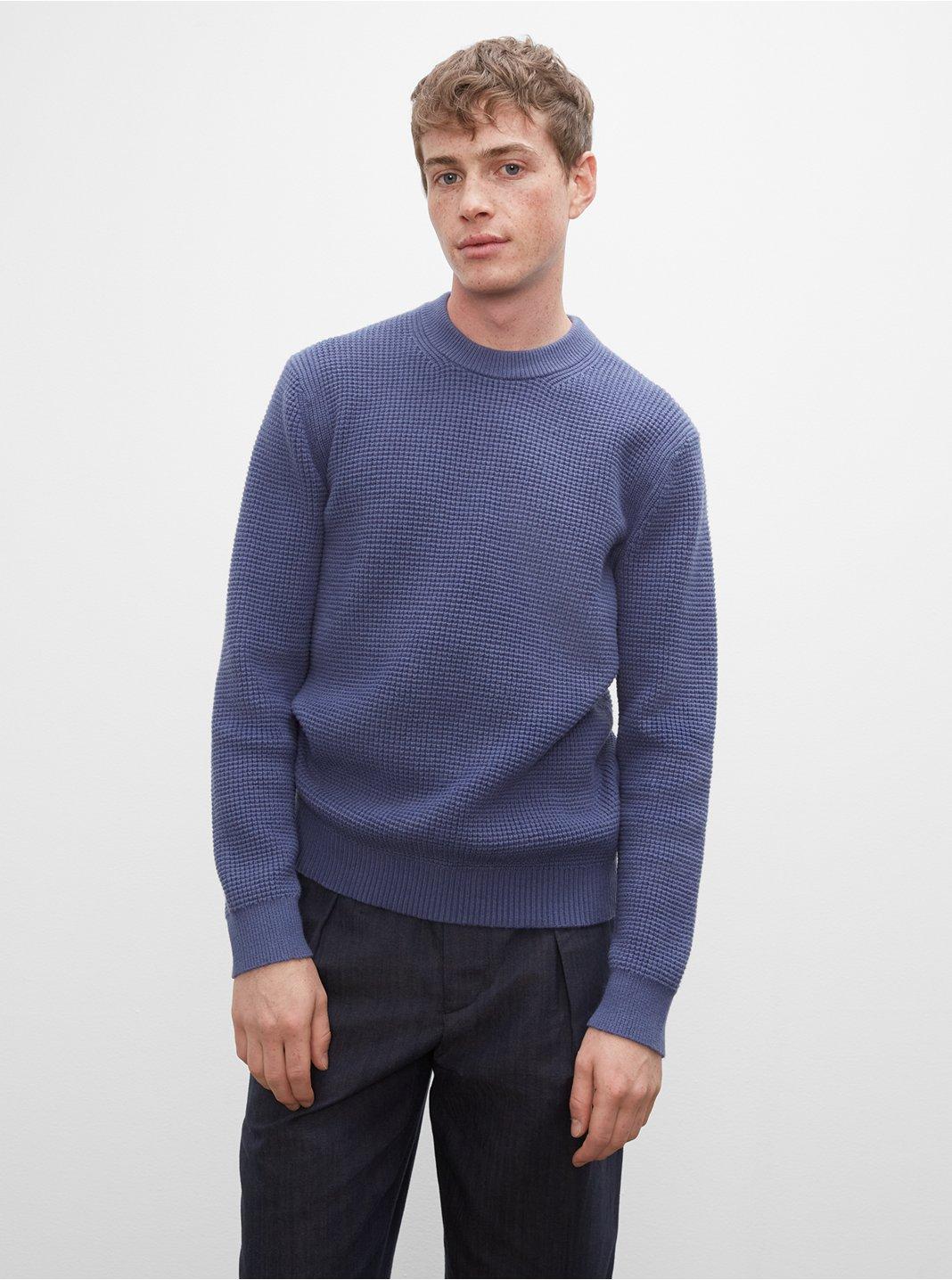 클럽 모나코 맨 와플 스웨터 Club Monaco Long Sleeve Waffle Crewneck Sweater,Blue