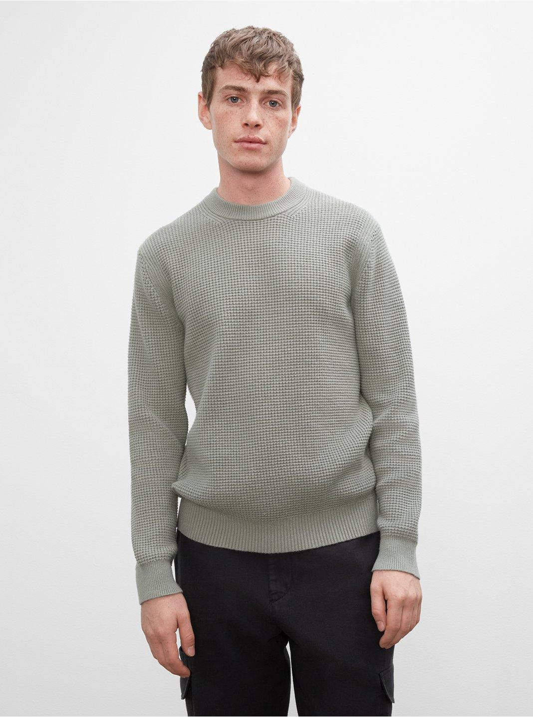 클럽 모나코 맨 와플 스웨터 Club Monaco Long Sleeve Waffle Crewneck Sweater,Green