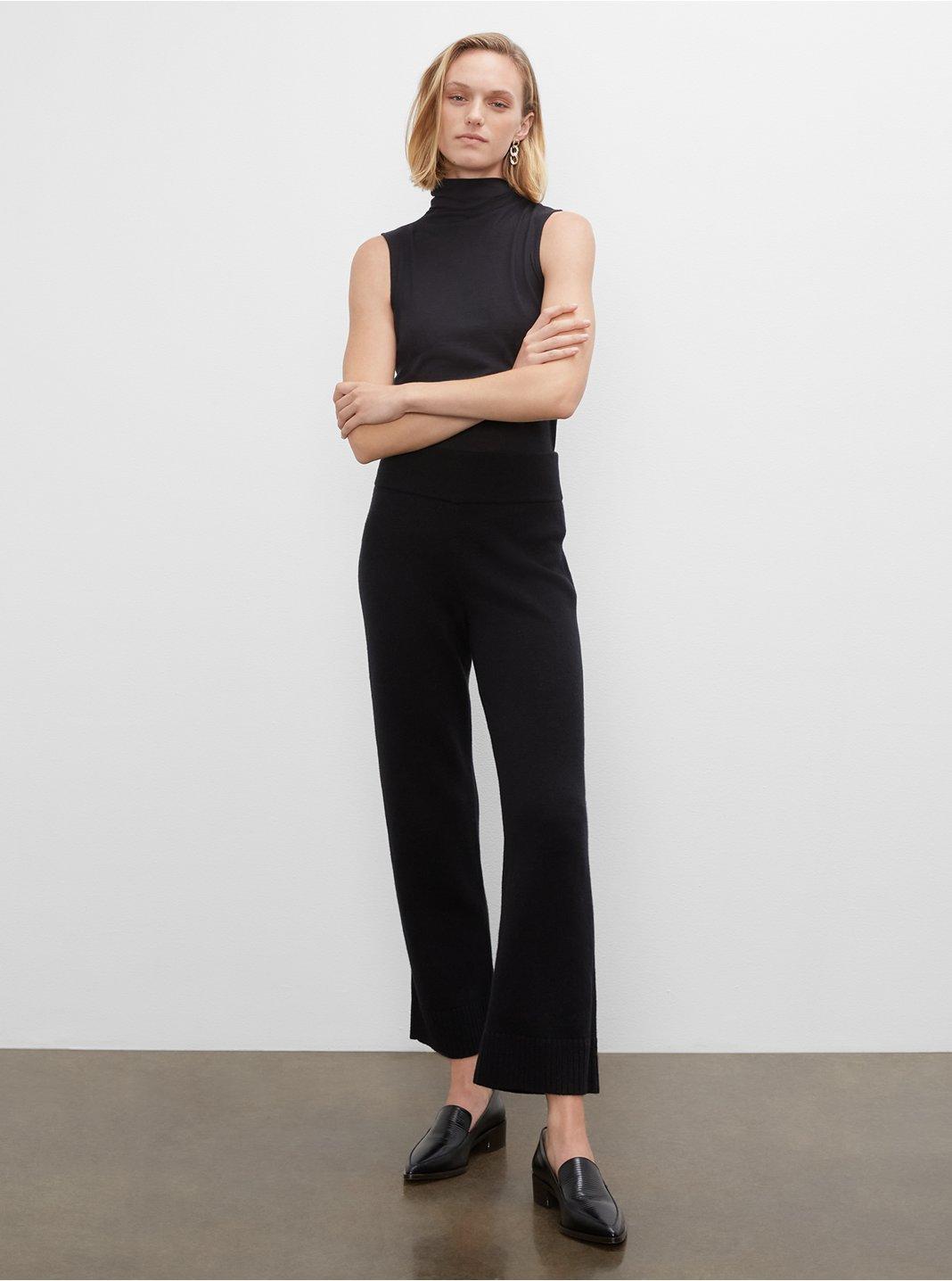 클럽 모나코 우먼 롱 스웨터 팬츠 Club Monaco Long Sweater Pants,Black