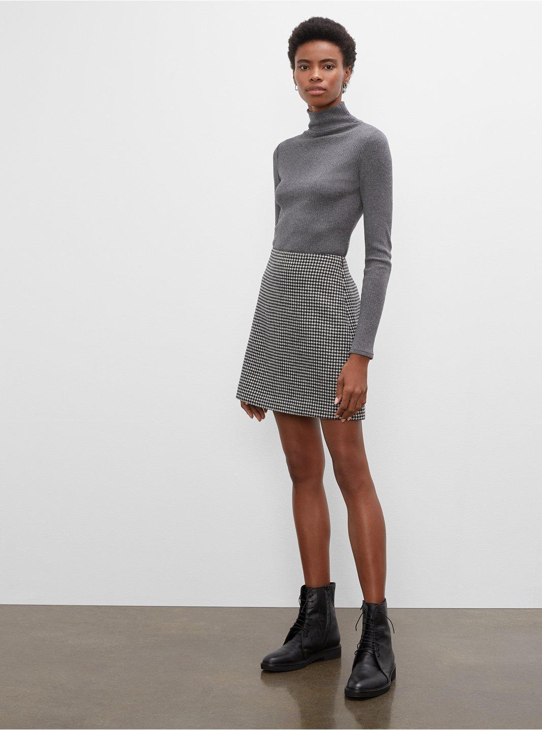 클럽 모나코 우먼 미니 스커트 Club Monaco Centie Houndstooth Mini Skirt,Blkwte