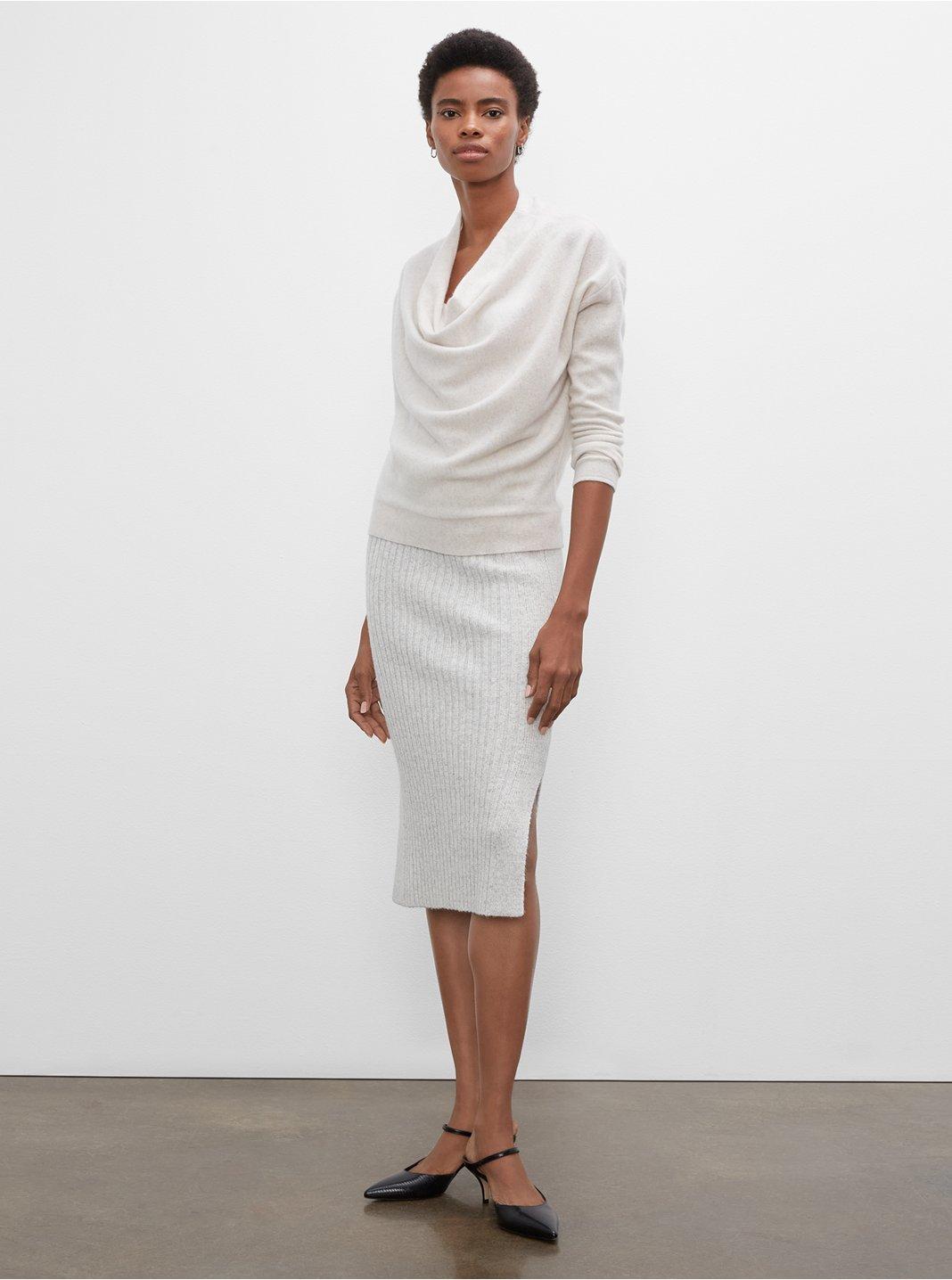 클럽 모나코 우먼 멀티 골지 튜크 스커트 Club Monaco Multi-Rib Tube Skirt,Grey