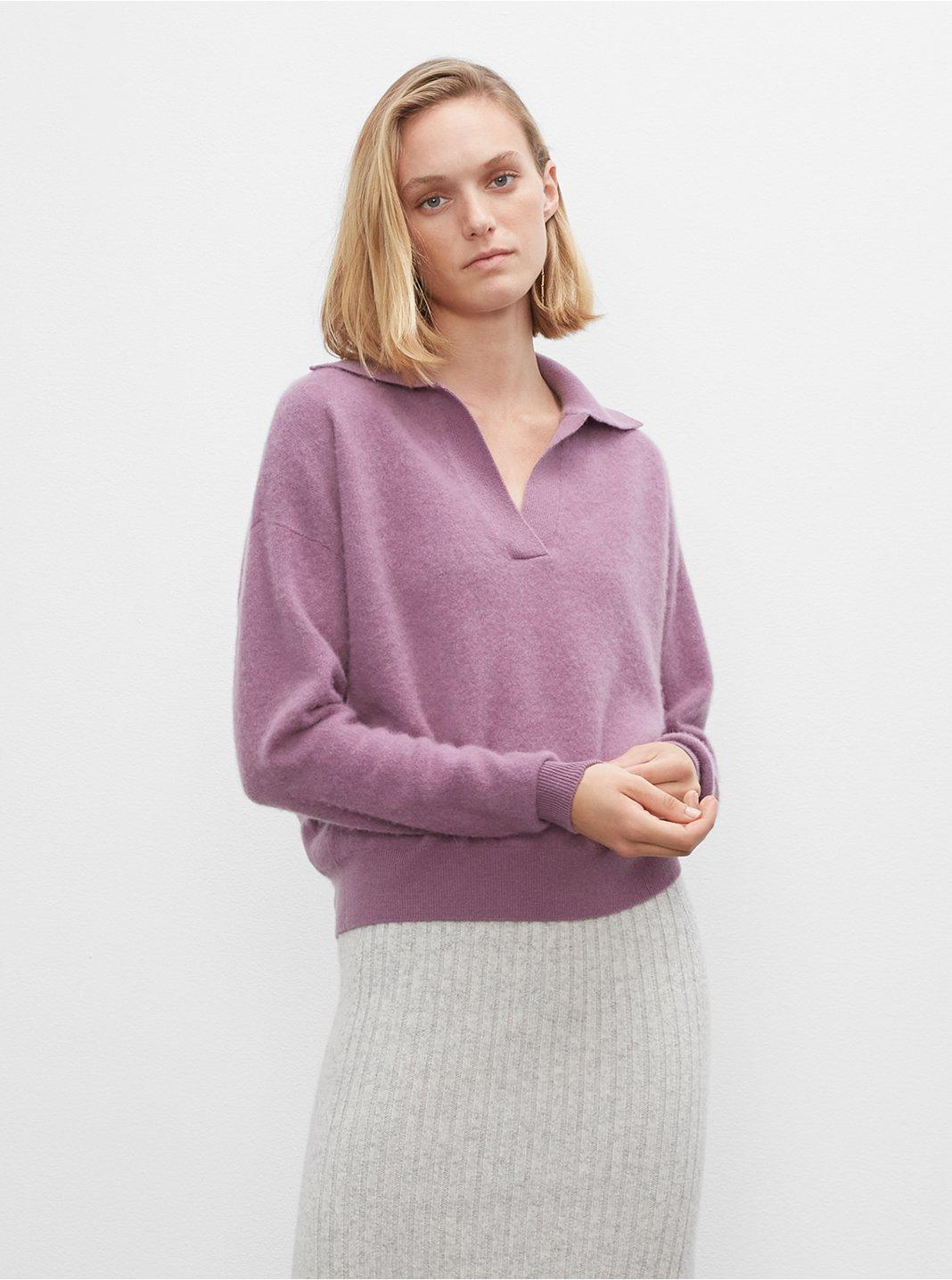 클럽 모나코 우먼 스웨터 Club Monaco Boiled Cashmere Sweater,Purple