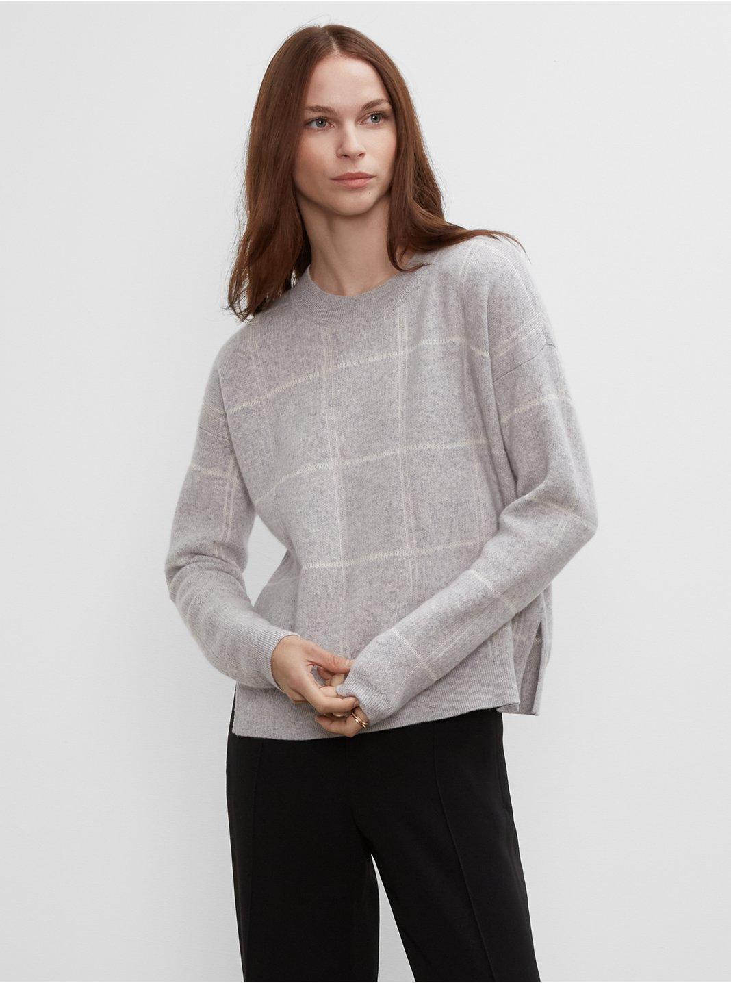 클럽 모나코 우먼 스웨터 Club Monaco Plaid Cashmere & Silk Crewneck Sweater,Grey Plaid