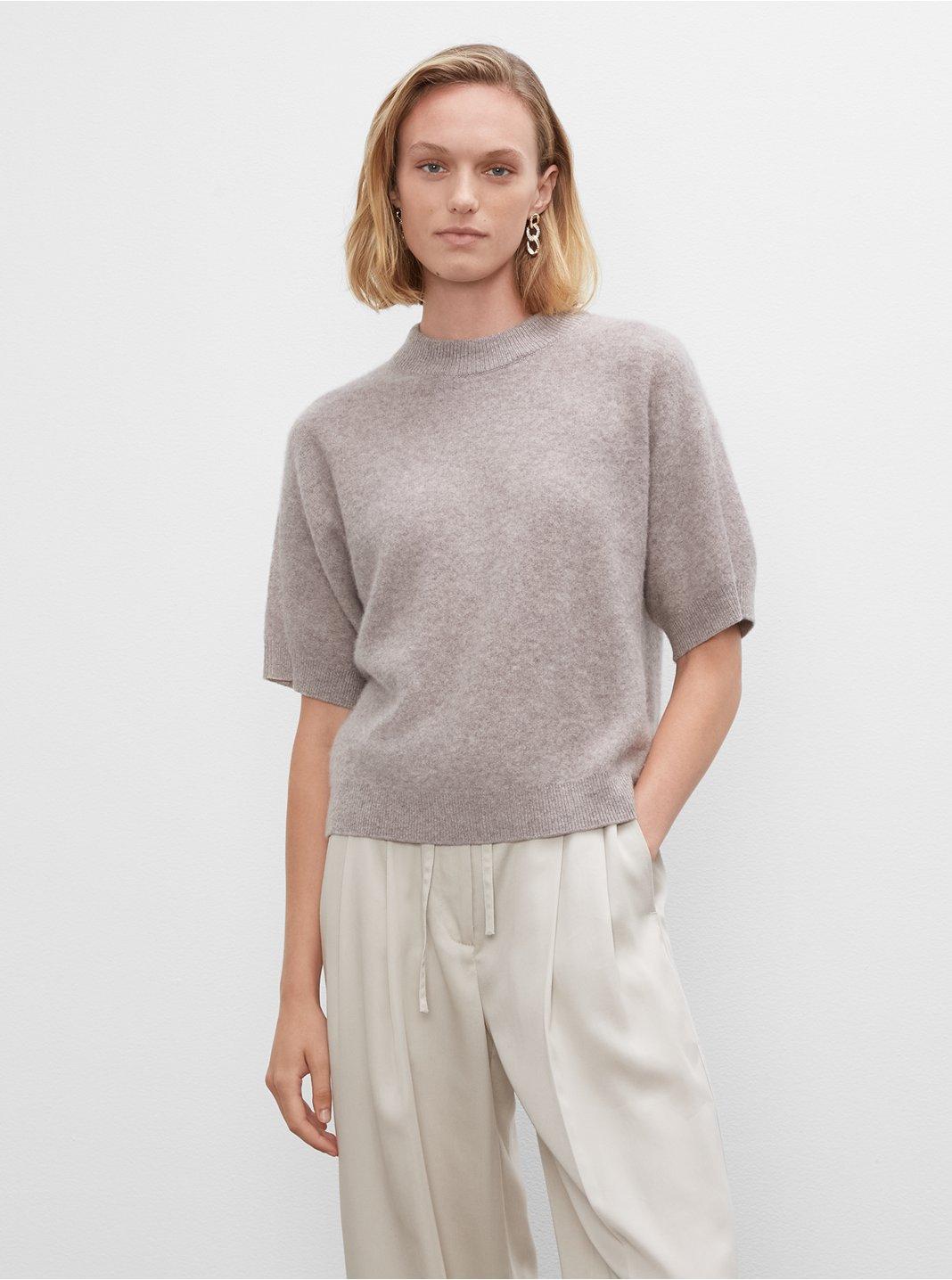 클럽 모나코 우먼 스웨터 Club Monaco Short Sleeve Boiled Cashmere Sweater,Grey Brown