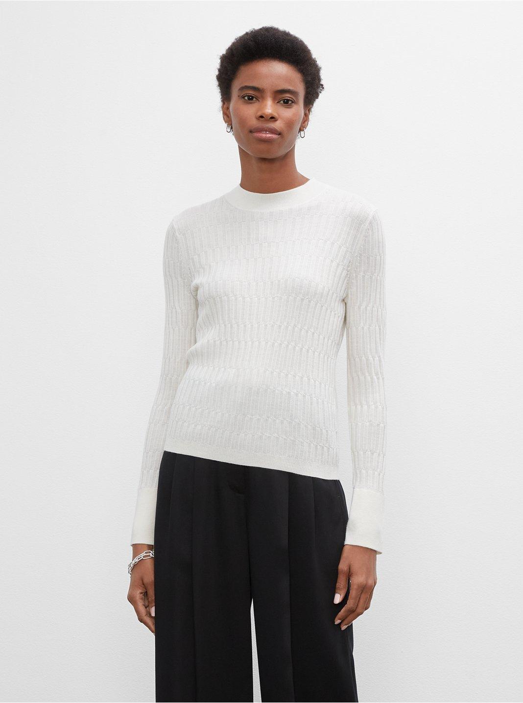 클럽 모나코 우먼 스웨터 Club Monaco Signature Mix-Rib Mockneck Sweater,White