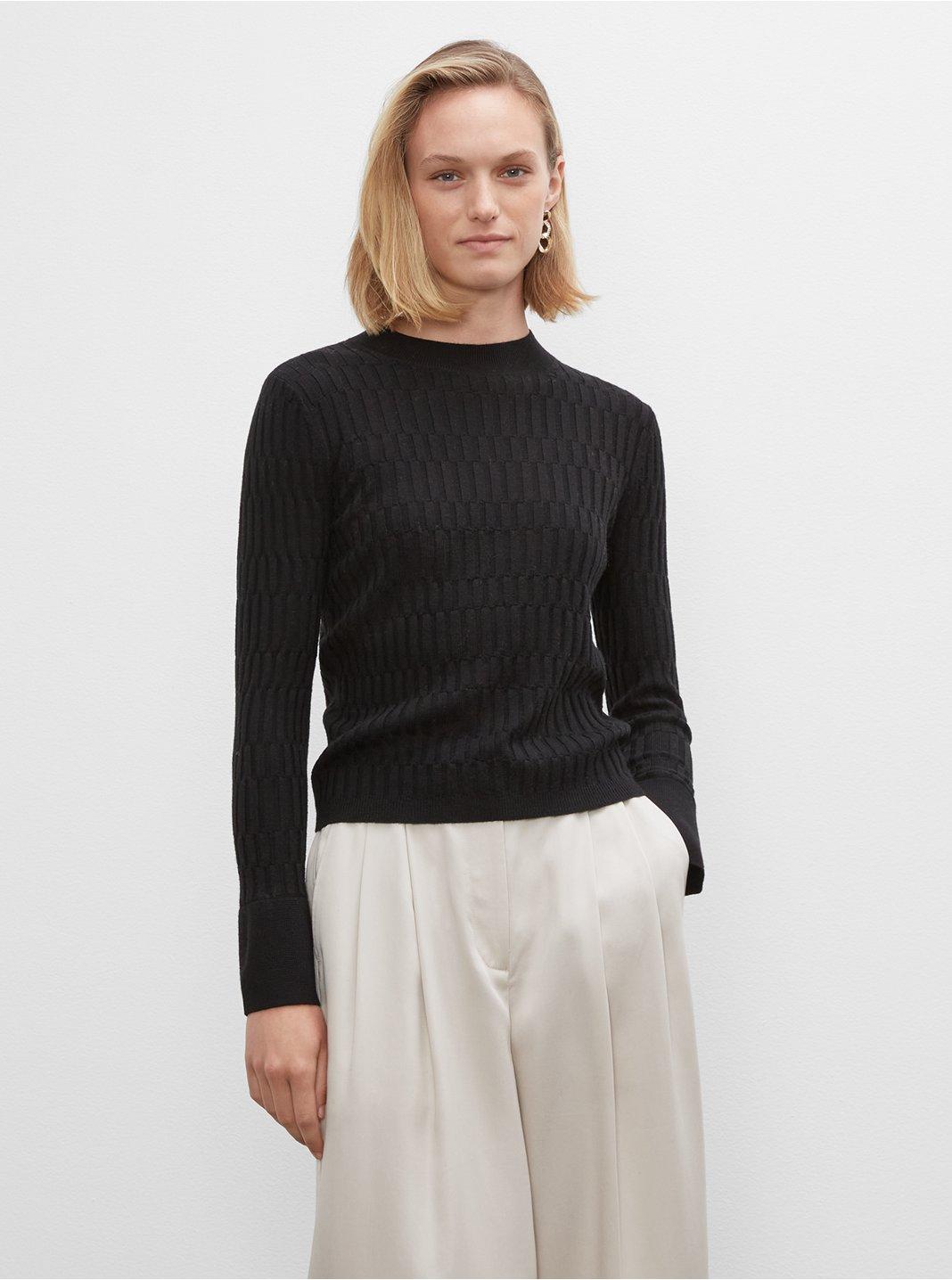 클럽 모나코 우먼 스웨터 Club Monaco Signature Mix-Rib Mockneck Sweater,Black