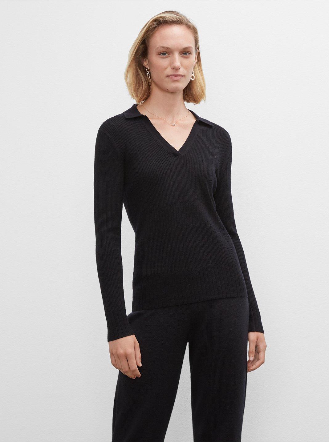 클럽 모나코 우먼 스웨터 Club Monaco Everywear Johnny Collar Sweater,Black