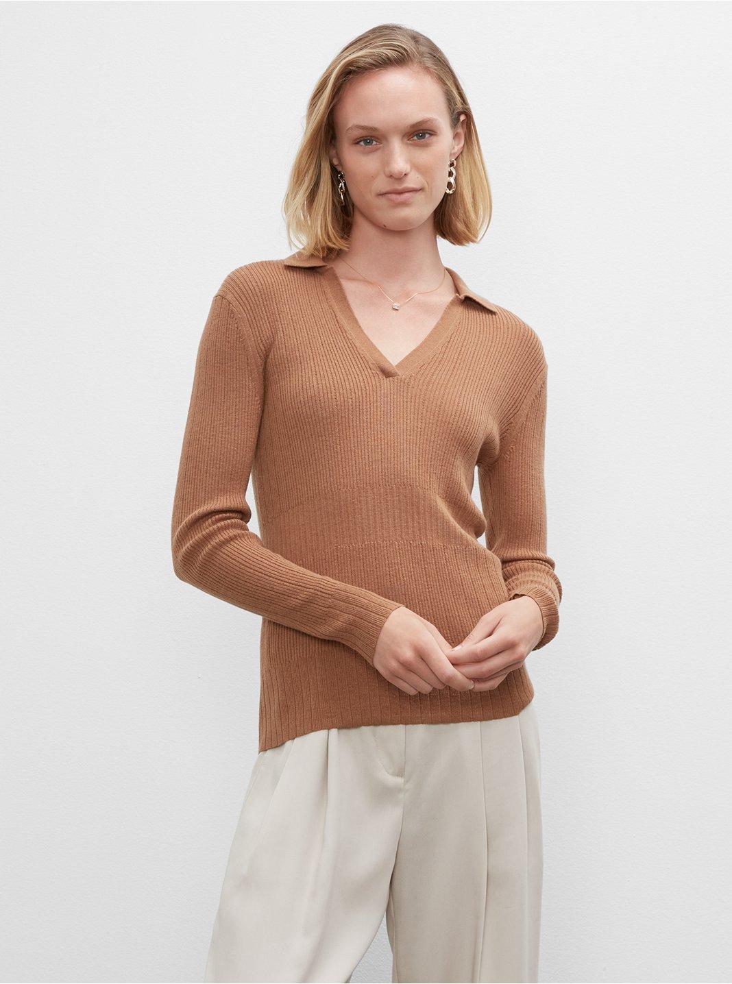 클럽 모나코 우먼 스웨터 Club Monaco Everywear Johnny Collar Sweater,Camel
