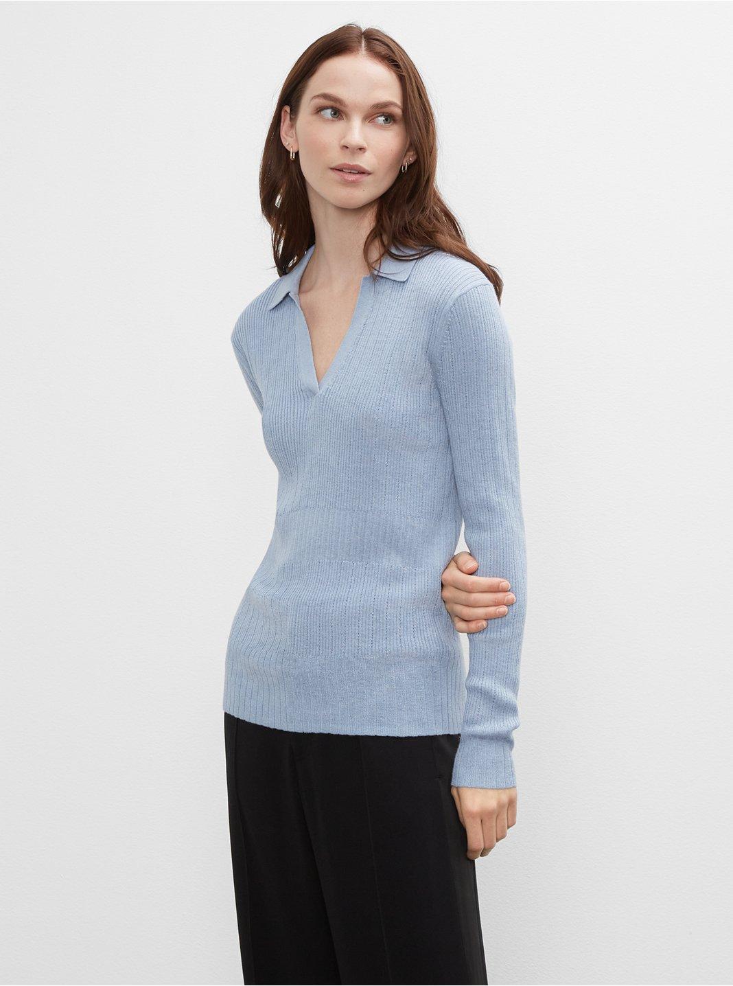 클럽 모나코 우먼 스웨터 Club Monaco Everywear Johnny Collar Sweater,Blue