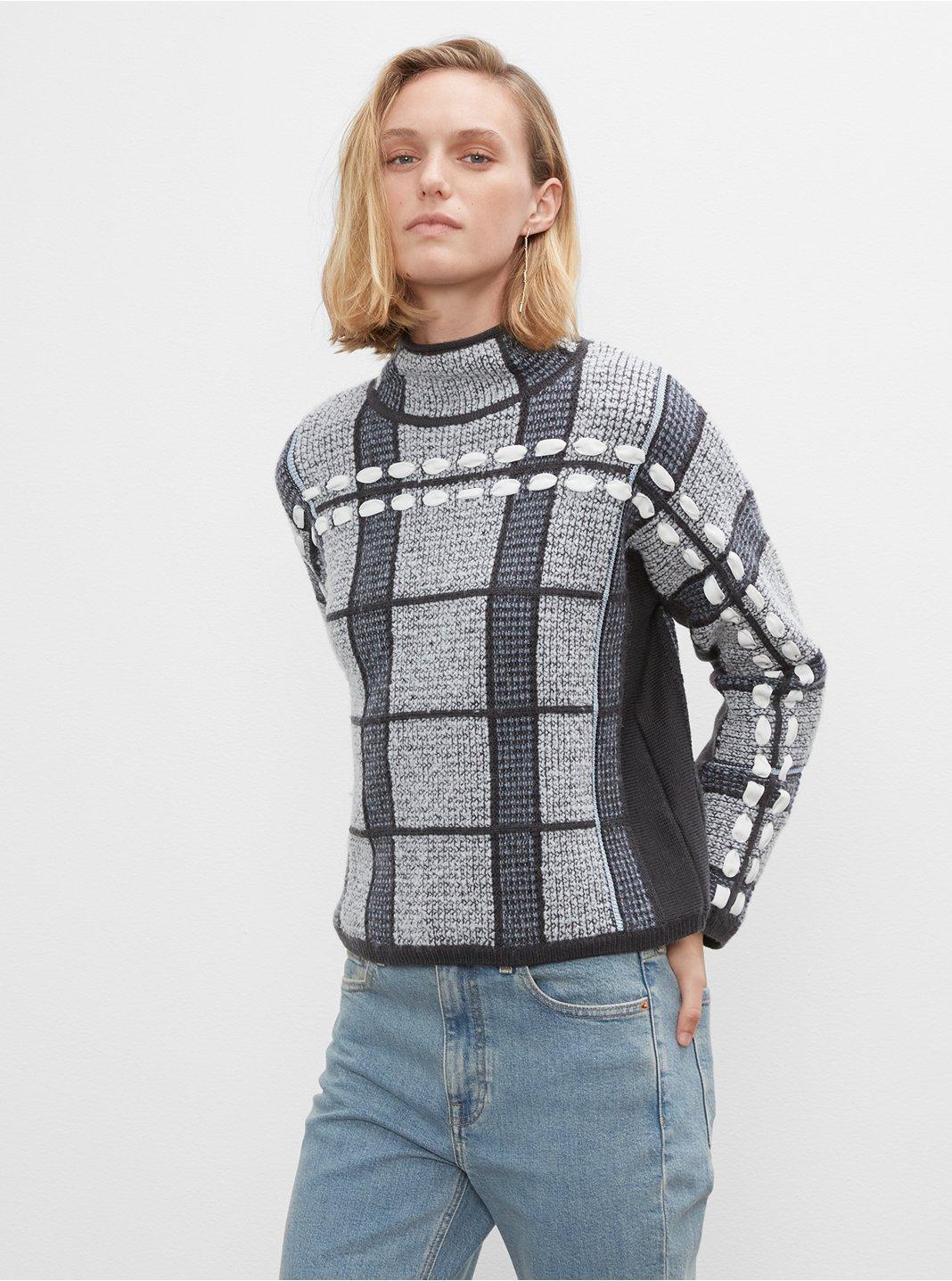 클럽 모나코 우먼 스웨터 Club Monaco Plaid Woven Sweater,Multi