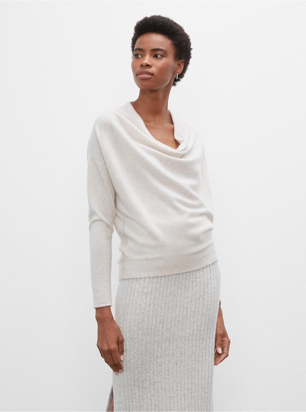 클럽 모나코 우먼 스웨터 Club Monaco Cowl Neck Cashmere Sweater,Cream