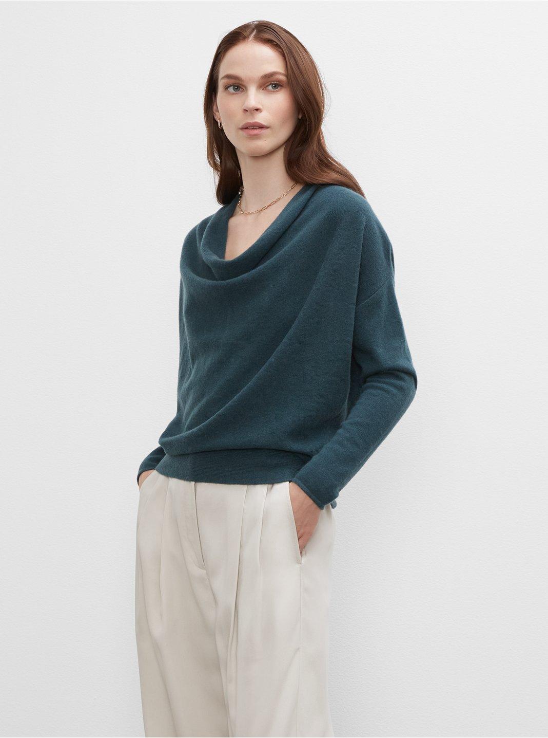 클럽 모나코 우먼 스웨터 Club Monaco Cowl Neck Cashmere Sweater,Green