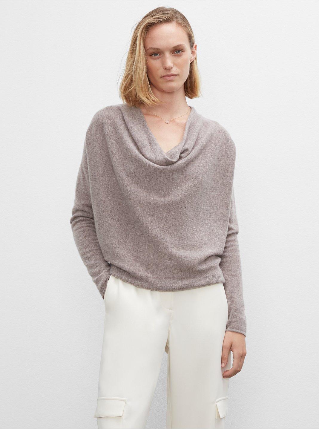 클럽 모나코 우먼 스웨터 Club Monaco Cowl Neck Cashmere Sweater,Grey Brown