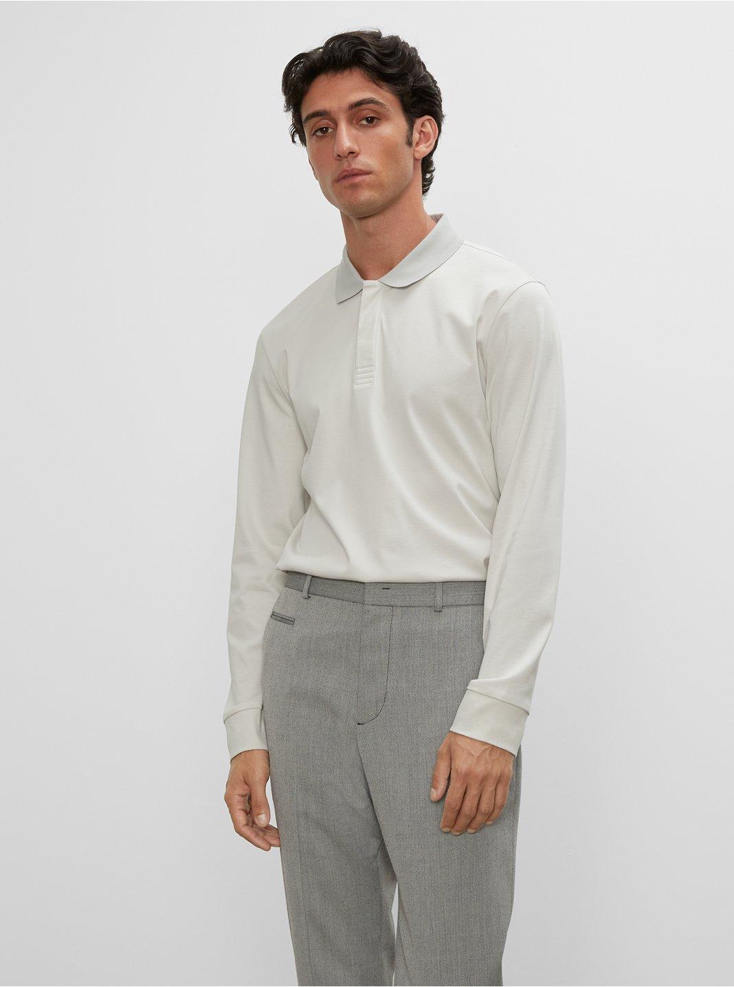 클럽 모나코 맨 폴로 셔츠  Club Monaco Refined Long Sleeve Polo,Dawn Blue/Vapor Blue