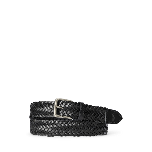 폴로 랄프로렌 Polo Ralph Lauren Braided Leather Belt,Black