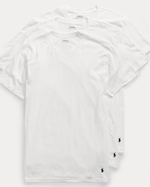 Men S Classic Crew T Shirt Undershirt 3 Pack Ralph Lauren
