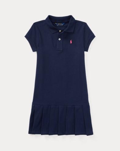 Pleated Cotton Polo Dress