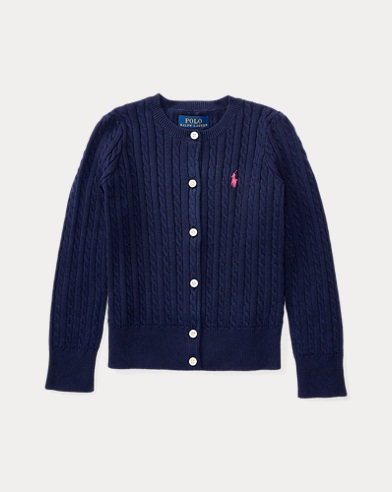 Cable-knitted Cotton Cardigan