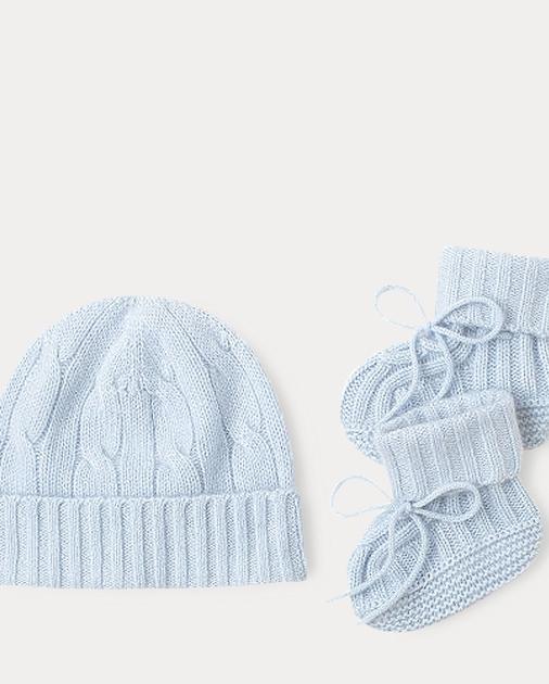 785647893 Baby Boy Cashmere Hat   Booties Set 1