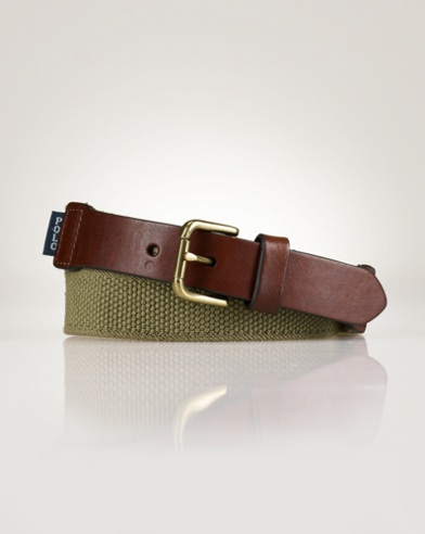 Leather-Trimmed Woven Belt