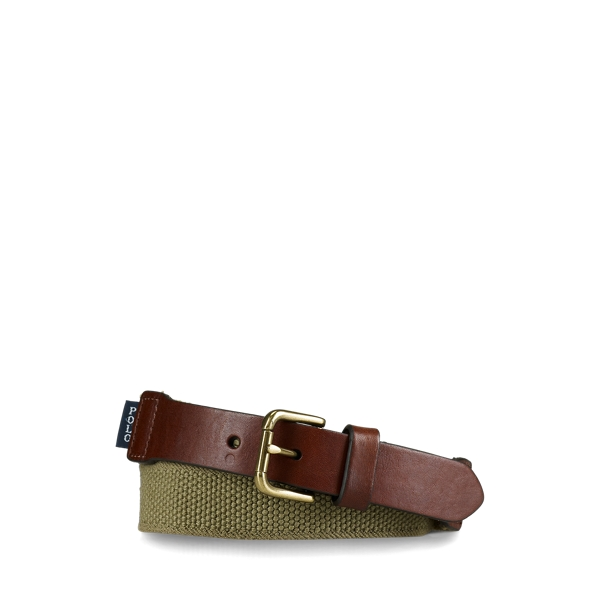 폴로 랄프로렌 보이즈 벨트 Polo Ralph Lauren Webbed-Cotton and Leather Belt,Khaki