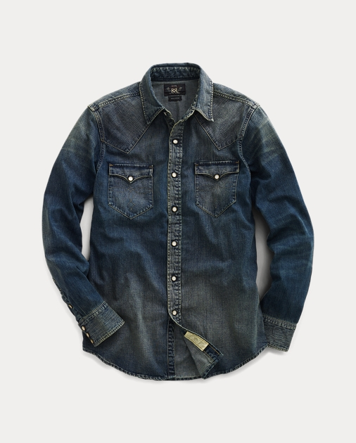 b8bb7e7e Slim Dark Denim Western Shirt | Slim Fit Casual Shirts | Ralph Lauren