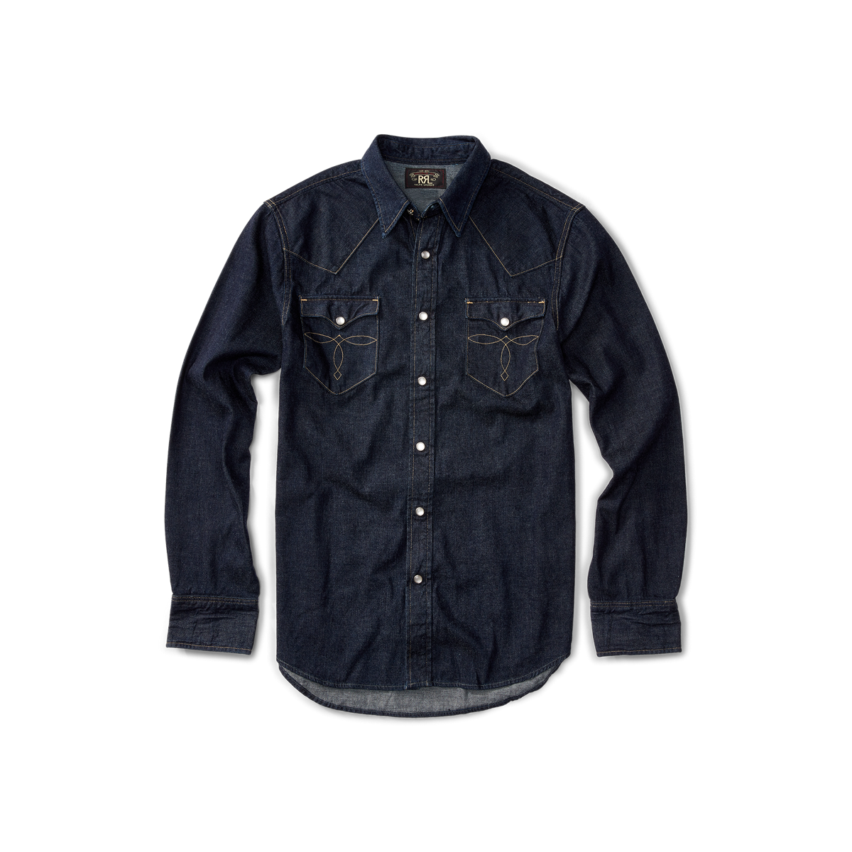 b842437d29 Slim-Fit Denim Western Shirt