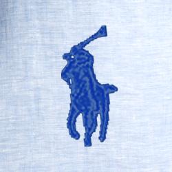Azul camisa de vestir/blanco